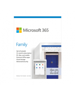 Microsoft 365 Family 6GQ-01150 Up to 6 People, License term 1 year(s), English, Medialess, P6