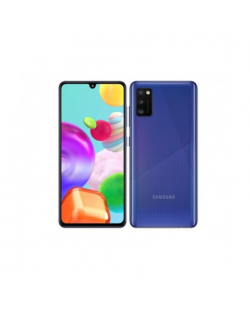 "Samsung Galaxy A41 Prism Crush Blue, 6.1 "", Super AMOLED, 1080 x 2400, Mediatek MT6768 Helio P65, Internal RAM 4 GB, 64 GB, microSD, Dual SIM, Nano-SIM, 3G, 4G, Main camera Triple 48 + 8 + 5 MP, Secondary camera 25 MP, Android, 10, 3500 mAh"