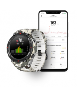 Amazfit T-Rex Smart watch, GPS (satellite), AMOLED Display, Touchscreen, Heart rate monitor, Activity monitoring 24/7, Waterproo
