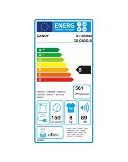 Candy Dryer Machine CSO C8DG-S Energy efficiency class B, Front loading, 8 kg, Condensation, Digit, Depth 58.5 cm, NFC, White