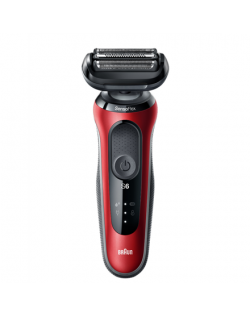 Braun Shaver 60-R1200s Cordless, Charging time 1 h, Wet use, Lithium Ion, Number of shaver heads/blades 3, Red/Black