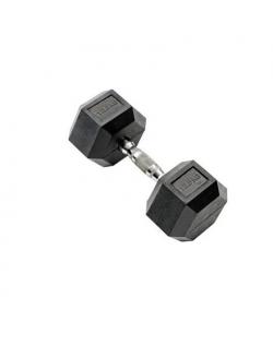 WNQ Hex Dumbbells 1 x 12.5 kg Black, Rubber/Stainless Steel