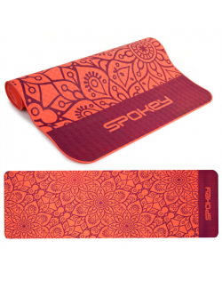 Spokey MANDALA Yoga Mat, Antiallergic and non-slip Easy to roll up, Red, TPE