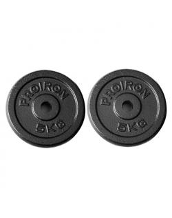 PROIRON PRKISP05K Weight Plates Set, 2 x 5 kg, Black, Solid Cast Iron