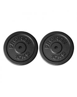 PROIRON PRKISP10K Weight Plates Set, 2 x 10 kg, Black, Solid Cast Iron