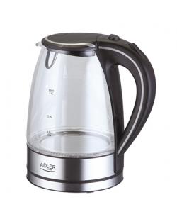 Adler Kettle AD 1225 Standard, 2000 W, 1.7 L, Glass, 360° rotational base, Stainless steel/Black