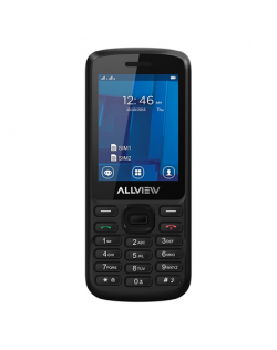 "Allview M9 Join Black, 2.4 "", TFT, 240 x 320 pixels, 64 MB, 128 MB, Dual SIM, 3G, Bluetooth, 3.0, Built-in camera, Main camera 3.2 MP, 800 mAh"