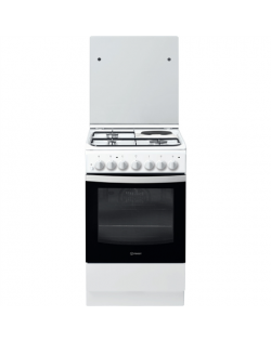 INDESIT Cooker IS5M5PCW/E Hob type 3 Gas + 1 Electric, Oven type Electric, White, Width 50 cm, Grilling, 59 L, Depth 60 cm
