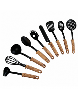 Stoneline Back To Nature 17898 Kitchen utensils set, Material Handle in Wooden Look, 9 pc(s), Dishwasher proof, Black/ Wooden Lo