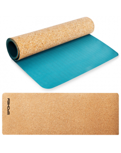Spokey SAVASANA Yoga mat, Two-layer, Non-slip surface, 180 x 60 x 0.4 cm, Blue, Cork/TPE