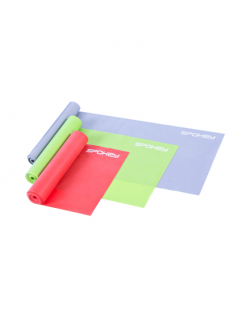 Spokey SWING II 3 fitness bands set, 120 x 15 cm, Weak (gray), Medium (green) and Strong (red), Mixed colors, Rubber