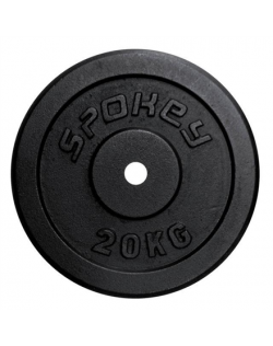 Spokey SINIS Cast iron loads, Hole diameter: 2.9 cm, for bars with a diameter of 2.8 cm, 20 kg, Black