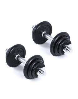 Spokey EGIR 20 Dumbbell set, +2 grips, 4 screw clamps, 12 weights, 20 kg, Black