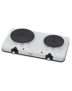 Adler Free standing table hob AD 6504 Number of burners/cooking zones 2, White, Electric stove, Electric
