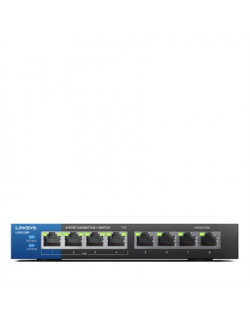 Linksys Switch LGS108P Unmanaged, Desktop, 1 Gbps (RJ-45) ports quantity 8, PoE+ ports quantity 4, Power supply type External