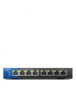 Linksys Switch LGS108P Unmanaged, Desktop, 1 Gbps (RJ-45) ports quantity 8, PoE+ ports quantity 4, Power supply type External