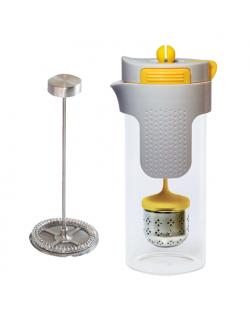 Stoneline 2in1 French Press Tea Maker 14348 0.75 L, Glass, Grey/Yellow