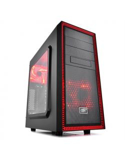 Deepcool Tesseract Side window, USB 3.0 x1, USB 2.0 x1, Mic x1, Spk x1, Black/Red, ATX, Power supply included No