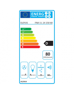 Eleyus Hood FNA S L 14 150 60 WH Wall mounted, Energy efficiency class E, Width 60 cm, 317 m³/h, Touch control, LED, White glass