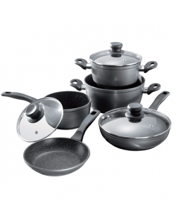 Stoneline 1 sauce pan, 1 stewing pan, 1 frying pan, die-cast aluminium, black,