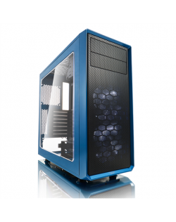 Fractal Design Focus G FD-CA-FOCUS-BU-W Side window, Left side panel - Tempered Glass, Blue, ATX, Power supply included No