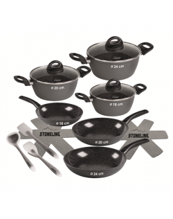 Stoneline Ceramic Cookware Set of 14 15710 3 pans 3 pots 3 lids, Black, Lid included