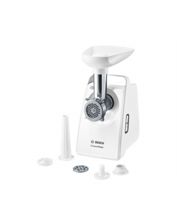 Bosch Meat mincer MFW3520W White, 500 W, Number of speeds 5, Throughput (kg/min) 1.9, 1 x sausage stopper attachment, 1 x perfor