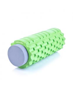 Spokey TEEL 2in1 Fitness Roller, 33.5 x 14.5 cm, +1 smooth EVA foam roller (10 cm), Green