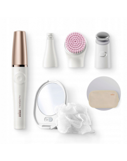 Braun Epilator Face Spa Flex 9300 922GS Operating time (max) 90 min, Number of power levels 2, Wet & Dry, White/Gold