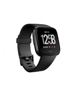 Fitbit Versa Smart watch, NFC, LCD, Touchscreen, Heart rate monitor, Activity monitoring 24/7, Waterproof, Bluetooth, Black/Blac