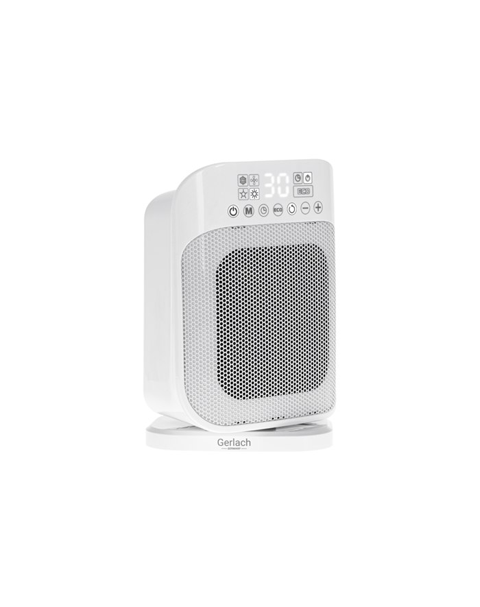 Gerlach GL 7729 Ceramic Heater, 1500 W, Number of power levels 2, Suitable for rooms up to 15 m², White, Remote control