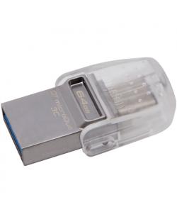 Kingston DataTraveler microDuo 3C 64 GB, USB 3.1, Transparent/Metal