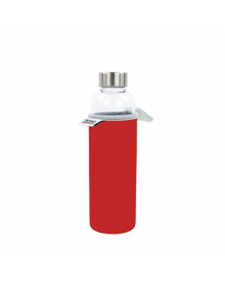 Yoko Design Glass Bottle with sleeve 1646 Red, Capacity 0.5 L, Dishwasher proof, Bisphenol A (BPA) free