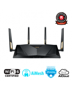 Asus Router RT-AX88U 802.11ax, 1148+4804 Mbit/s, 10/100/1000 Mbit/s, Ethernet LAN (RJ-45) ports 8, Mesh Support Yes, MU-MiMO Yes, 3G/4G via optional USB adapter, Antenna type 4xExternal, 2xUSB 3.1 Gen1, WiFi 6 Gaming Router AX6000), AiMesh, AiProtection Pro, WTFast game accelerator, Adaptive QoS, AiCloud 2.0, AiDisk, AiRadar