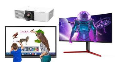 Monitoriai, projektoriai, ekranai